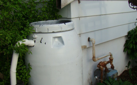 Residential rain barrel installation