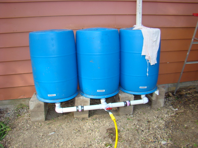 Hook up rain barrel downspout
