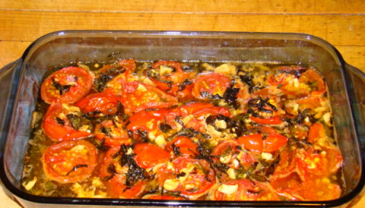 Confit  Tomatoes with Garlic and Basil
