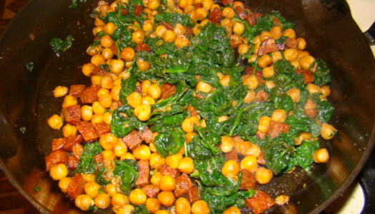 Fried chickpeas with Chorizo and Spinach
