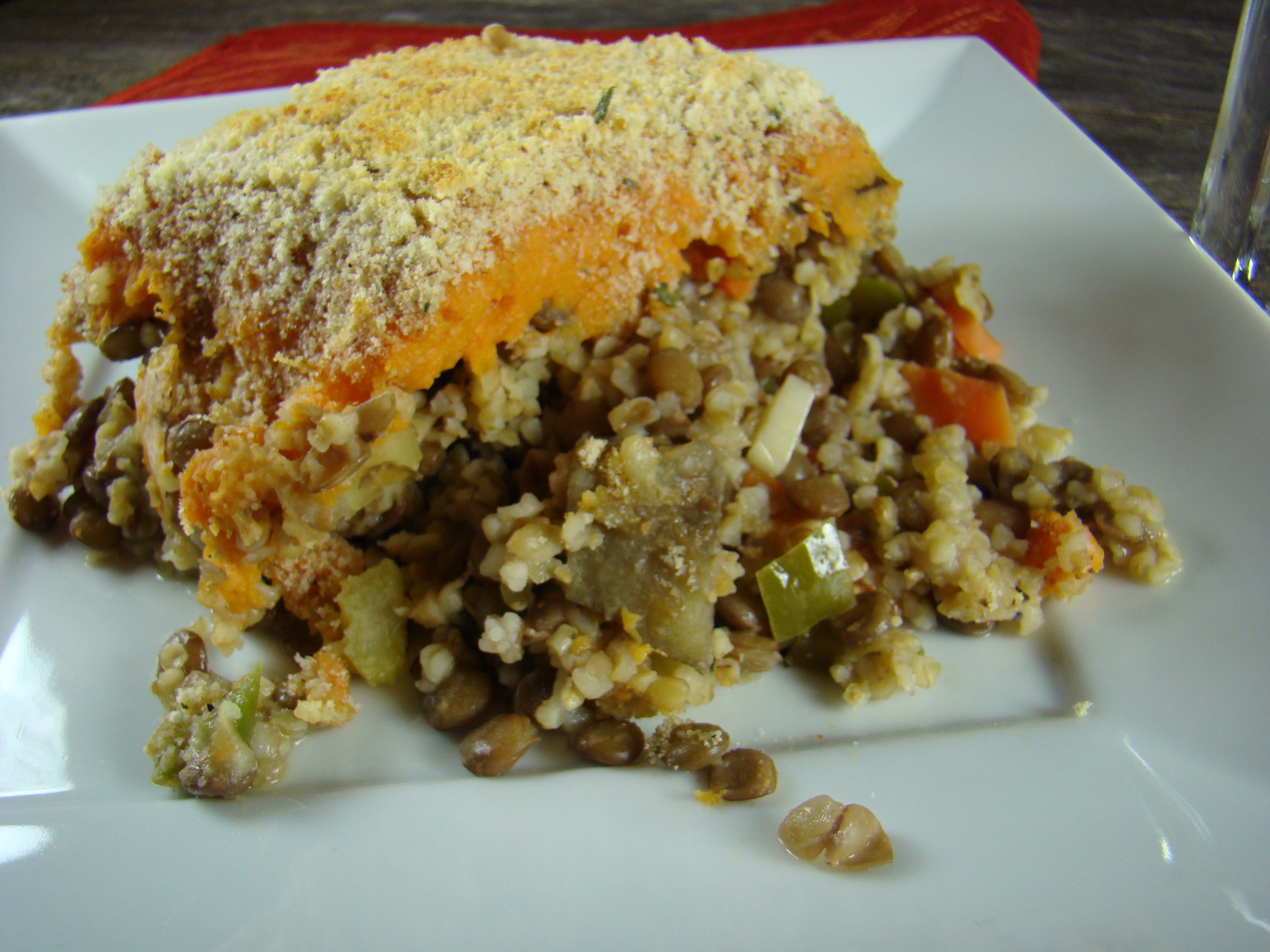 Bulgar Lentil Pie with Sweet Potato Crust