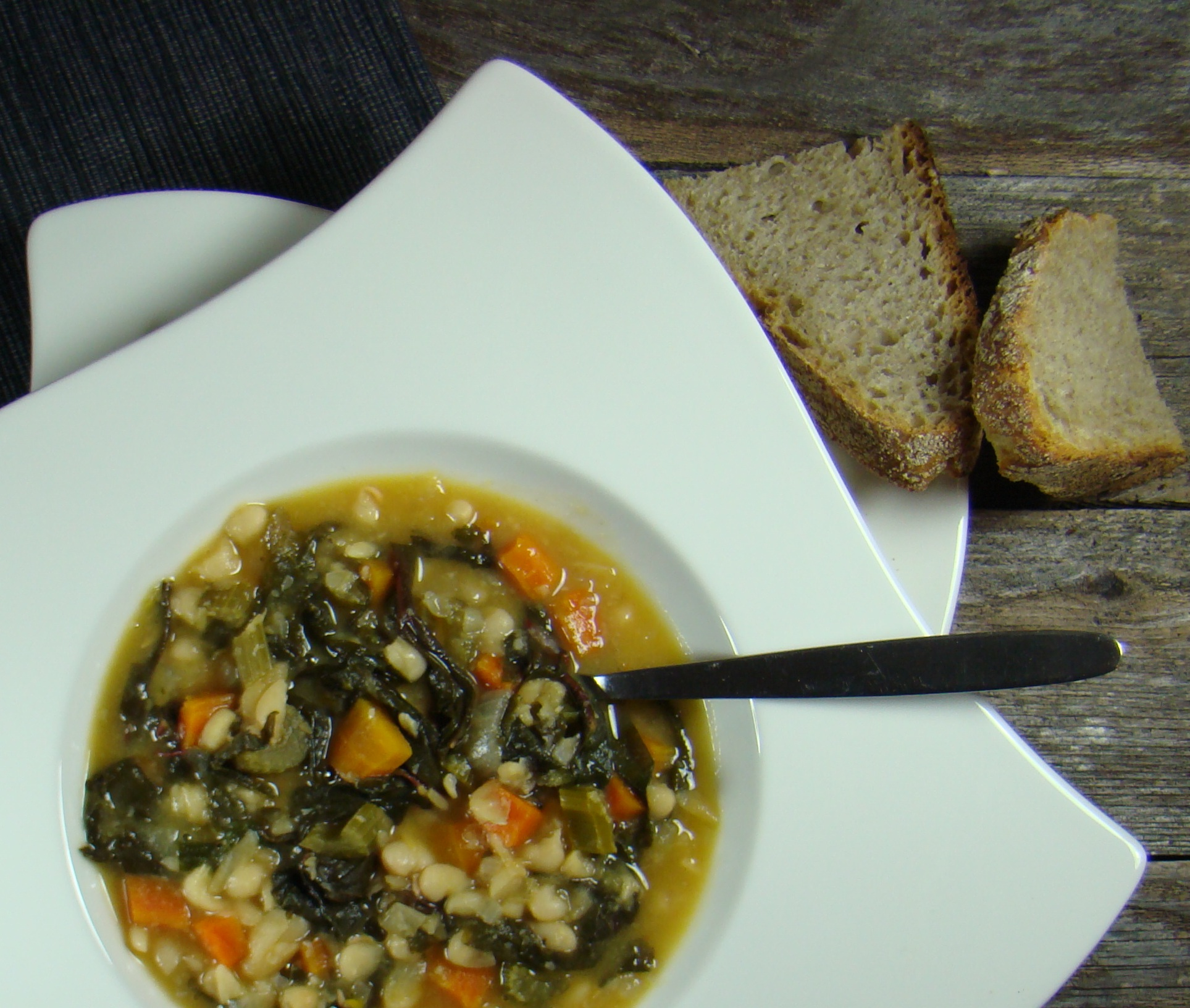 White Bean Soup with Chard, Kale and Radish Greens