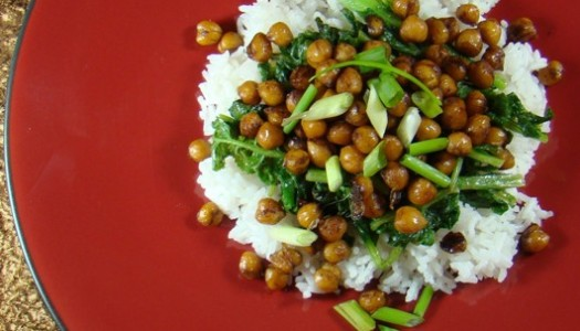 Radish Greens & Balsamic Glazed Chickpeas
