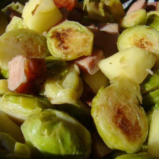 Braised Brussels Sprouts with Apple and Canadian Bacon