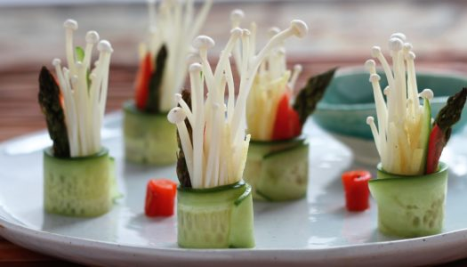 Cucumber Roll with Ginger, Tomato,  Asparagus and Enoki Mushroom