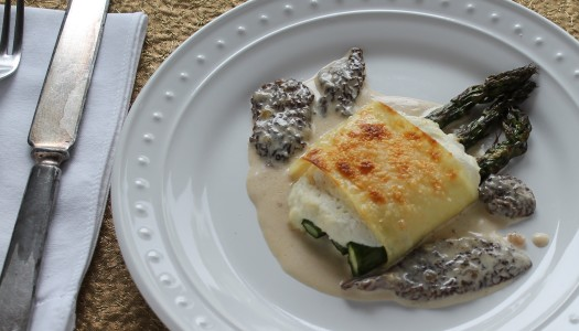 Lemon Ricotta Rollups with Morel Cream Sauce